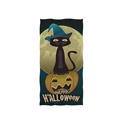 Schwarze Katze Hexen für Halloween Soft Spa Strand Badetuch Fingerspitze Handtuch Waschlappen Für Baby Erwachsene Badezimmer Strand Dusche Wrap Hotel Reise Gym Sport 30x15 Zoll