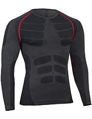 Bwiv maglia a compressione uomo manica lunga asciugatura rapida maglia da corsa ciclismo