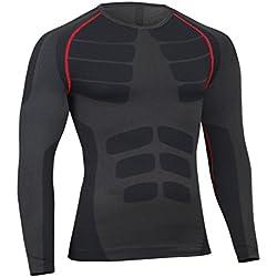 Bwiv Camiseta Hombre Deportiva Compresión Camiseta Interior Hombre Manga Larga Fitness Gimnasio Aire Libre para Entrenamiento Ciclismo de Negro Gris y Rojo Línea Talla L
