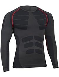 Bwiv Camiseta Hombre Deportiva Compresión Camiseta Interior Hombre Manga Larga Fitness Gimnasio Aire Libre para Entrenamiento