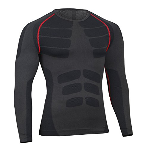 Bwiv camiseta de compresiòn hombre manga larga secado rápido camiseta de running Negro XL