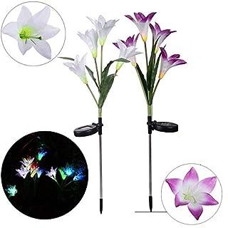 Pack of 2 Lily Flower Solar Light YUNRUX Solar Light Solar Lamp Spotlight AuBen Solar Light Solar Powered Multicoloured Changing LED Solar Lights Energy Saving Sensor Light