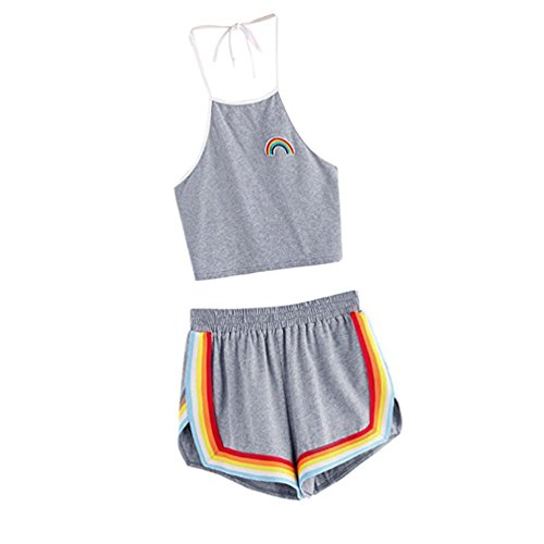 TUDUZ Shorts und Top Sets Damen Sommer Strand Zweiteiler Neckholder Beachwear Chiffon Crop Tops