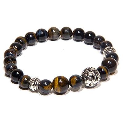 Bracelet hommes oeil de tigre foncé élastique bijoux hommes elegant cadeau femmes pierre naturelle