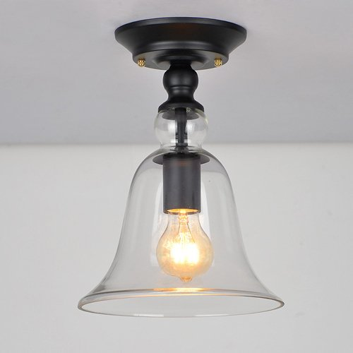 Hines Industriellen Stil 11 '' Höhe Klaren Glocke Schatten Kleine Semi Unterputz Glas Deckenleuchte Lampe verwenden LED E27 Lampe 1 Licht (Glocke-glas 1 Licht)