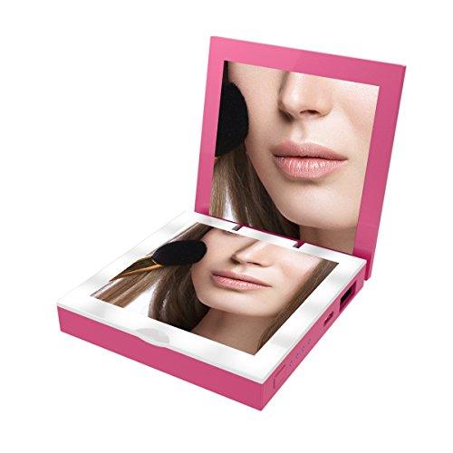 OrimeCharger Power Bank 2800mAh mit Make-Up Taschenspiegel 1X/3X Vergrößerungsspiegel mini faltbarer Schminkspiegel, 2.1A Ausgang(Pink)