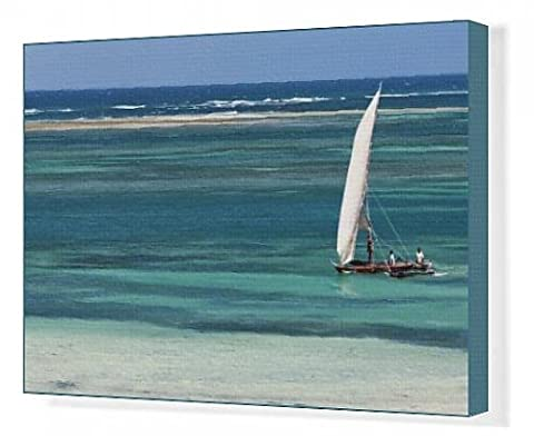 Canvas Print of A traditional outrigger canoe sails close to the shore at Diani Beach