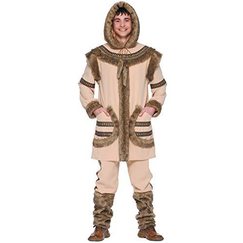Eskimo Kostüm für Herren Fell Herrenkostüm Eiszeit Tier Arktis Winter Gr. M-XL, ()