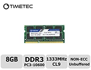 Timetec Hynix IC 8GB DDR3 1333MHz PC3-10600 Unbuffered Non-ECC 1.5V CL9 2Rx8 Dual Rank 204 Pin SODIMM Laptop Notebook Computer Memory RAM Module Upgrade (8GB)