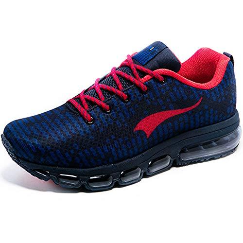 ONEMIX Air Sneakers Herren Damen Laufschuhe Sportschuhe mit Luftpolster Turnschuhe Outdoor Fitness Walking Schuhe Dunkelblau/Rot 40 EU - Mens Athletic-basketball-schuh