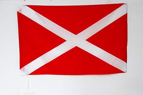 AZ FLAG Flagge Motorsport ROTE MIT Weisse Kreuz 90x60cm - Karting Fahne 60 x 90 cm Scheide für Mast - flaggen Top Qualität