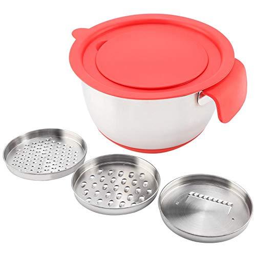 Cuencos de acero inoxidable para mezclar huevos y ensaladas, base antideslizante, con asa, rallador...