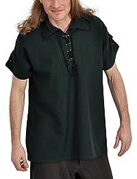 Chemise médiévale pour homme manches courtes cordelette sur les manches coton vert
