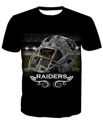 Männer 3D T-Shirt Oakland Raiders NFL Fußball Team Uniform Muster Digitaldruck Liebhaber Shirt(M,Schwarz) (Oakland Raiders Uniformen)