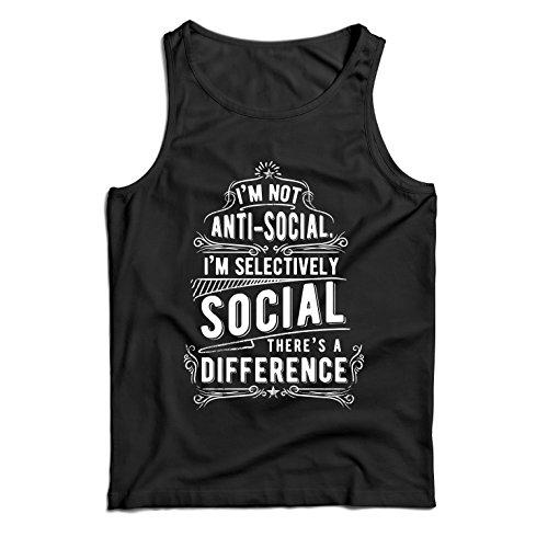 Camisetas de Tirantes para Hombre No Soy Antisocial Solo selectivamente Social, Gracioso Diciendo, Citas de Humor sarcástico (Small Negro