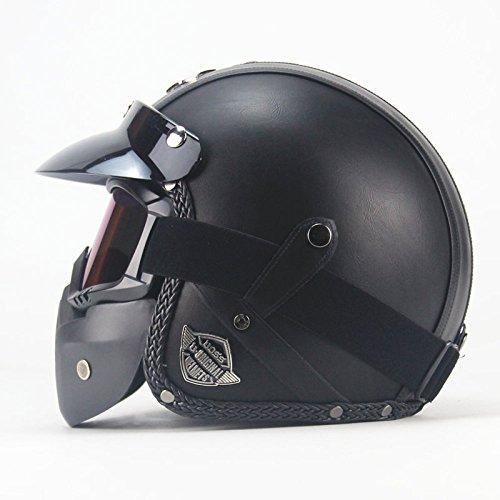 LI DANNA Retro Helm Handmade Harley Helm Motorrad 3/4 Lederhelm Halbhelm Männer Und Frauen,C-(XXL:63CM-64CM)