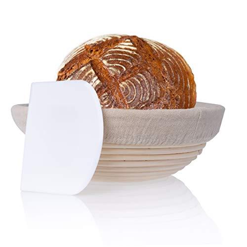 Gärkörbchen klein inkl. Teigschaber – Der ideale Gärkorb für Brotteig aus natürlichem Peddigrohr (rund   Ø 22 cm) – mit Leineneinsatz