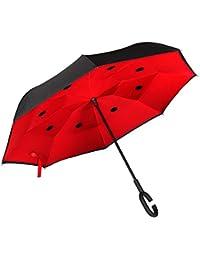 Golden Lemur Paraguas Invertido. Paraguas Originales Mujer y Hombre de Colores. Grande, para