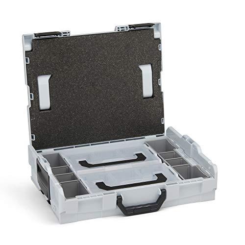 Aufbewahrungsbox Schrauben leer | L-BOXX 102 (grau) mit Insetboxenset Mini | Profi Werkzeugkoffer leer inkl. Sortimentskasten Einsätze