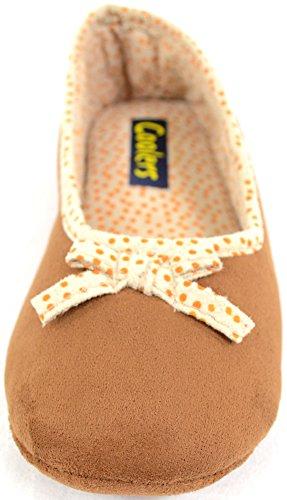 Damenschuhe/Slippers mit unverstärkter Sohle Hellbraun