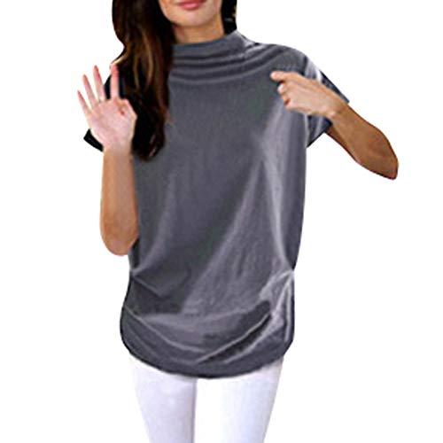 iHENGH Damen Top Bluse Bequem Lässig Mode T-Shirt Frühling Sommer Blusen Frauen Rollkragen Kurzarm Baumwolle Solide Casual Top(Grau, 6XL) (Frauen Top-ten-halloween-kostüme Für)