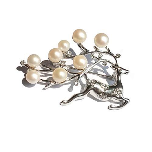 ELAINZ HEART Regalo del día de la Madre Ciervo AfortunadoPlateado Impresionantes Perlas broches y pasadores para Mujeres y niñas con 8pcs Perlas de botón Blanco cultivadas de Agua Dulce
