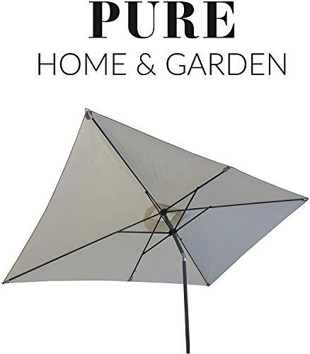 Pure Home & Garden Kurbelschirm Sunrise 300 x 200 Natur, mit UV-Schutz 40 Plus, Knicker und abnehmbarem Bezug