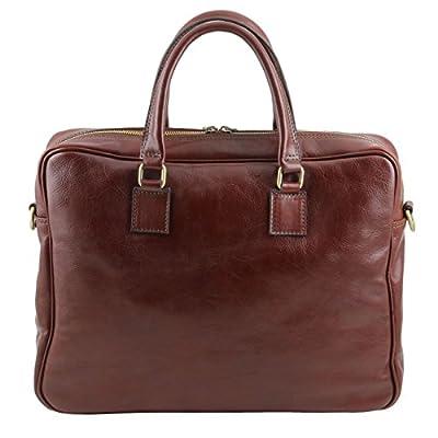 Tuscany Leather Urbino Leather laptop briefcase with front pocket - laptop-briefcases, laptop
