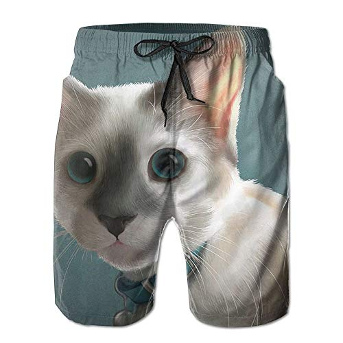 ZHIZIQIU Men's Shorts Swim Beach Trunk Summer White Cat Casual Classic Shorts with Pockets - M -