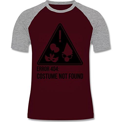 Shirtracer Karneval & Fasching - Error 404: Costume Not Found - Herren Baseball Shirt Burgundrot/Grau meliert