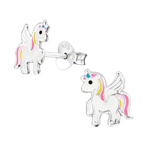 Mon-bijou–h33589–Pendientes Unicornio alado en plata 925/1000