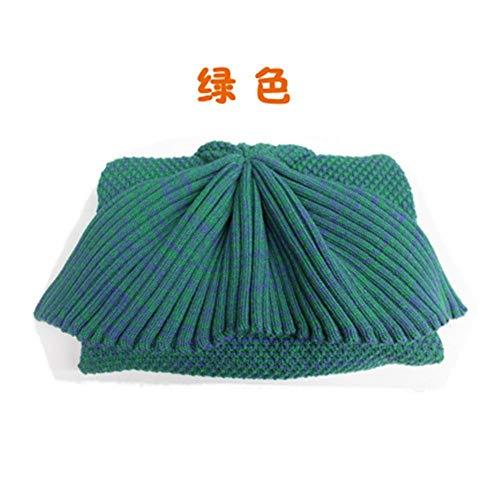 14EU-Haucalarm Warm und weich häkeln Meerjungfrau Schwanz Decke für Erwachsene, Jugendliche und Kinder, geeignet für Jede Jahreszeit (Color : 40/90 Children, Größe : Olive Green)