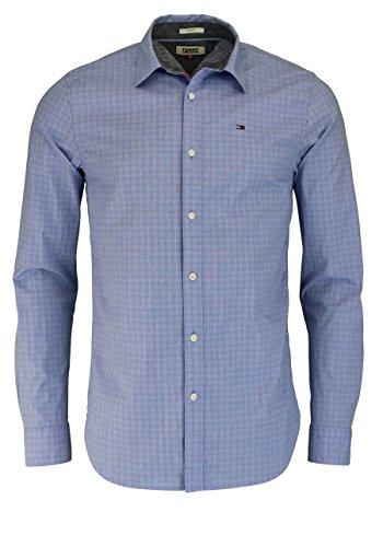 Tommy Jeans Hilfiger Denim Herren Freizeithemd Tjm Basic SLS STP Shirt L/S 16, Blau (Indigo Bunting 410), Medium (Baumwolle-button-down-shirt Gestreifte)