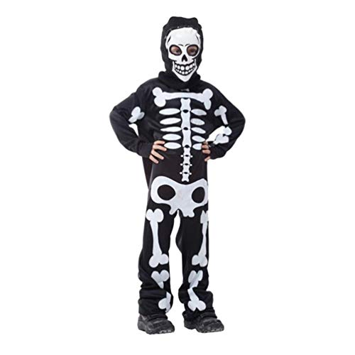 Mädchen Scary Kostüm Kinder - Amosfun Kinder Skelett Kostüm Halloween Horror Kostüm Scary Karneval Neuheit Verkleidung für Junge Mädchen Cosplay Dress Up Party Deko