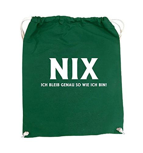 Comedy Bags - NIX ICH BLEIB GENAU SO - Turnbeutel - 37x46cm - Farbe: Schwarz / Pink Grün / Weiss