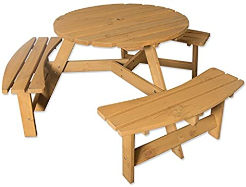Maribelle 6 Seater Stained Pine Round Garden/Pub Bench and Seat Furniture