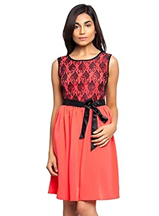 4f36081fc7e7e8 ... Tops; ›; Femninora Women's Carrot Color Dress with Black Lace and Satin  Belt