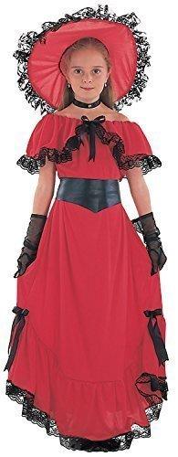 harlachrot Mädchen Saloon West Gegangen mit der Wind Welttag des Buches-Tage-Woche Halloween Karneval Kostüm Kleid Outfit 4-14 Jahre - 12-14 years (Saloon Mädchen Halloween Kostüme)