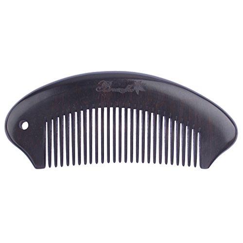 Breezelike no static Curving Ebony Wood (Black Sandalwood) fine Tooth Pocket Comb