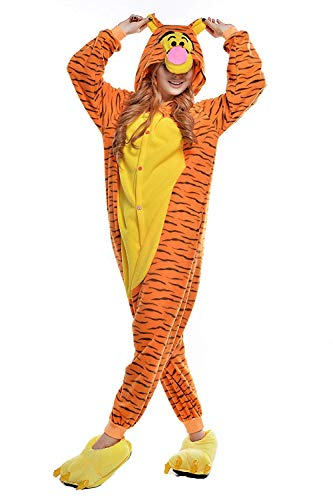 Kostüm Tigger - AGOLOD Erwachsene Tier Pyjama Kostüm Halloween Karneval Party Weihnachten Cartoon Party