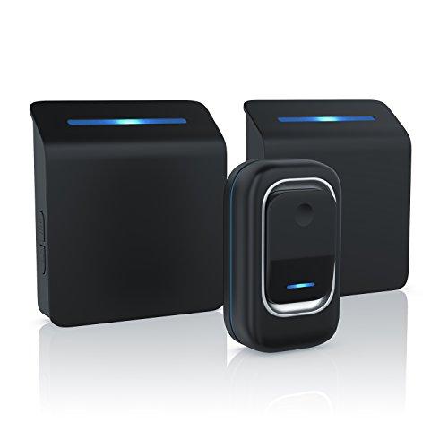 Sheer - sonnette digitale (sans fil / portable) | Wireless Digital Door Bell | 36 mélodies sons sélectionnables | quatre niveaux sonores | signal optiqie (LED) | haute portée (jusqu'à 100m) | noir