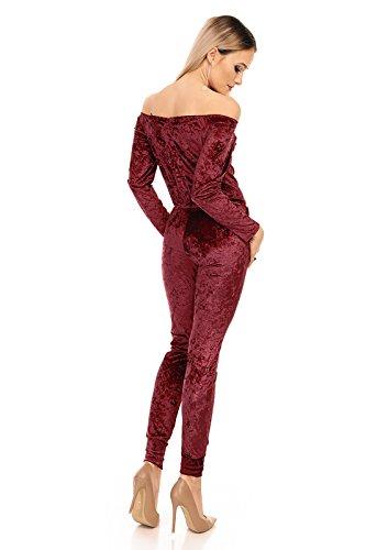 MODDYS Damen Overall, ein schulterfreier Jumpsuite Einteiler im Bandeau Stil, Velour Optik, Gr. 32-40 Bordeaux Weinrot