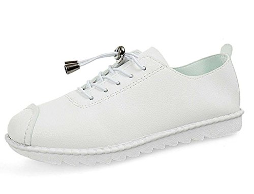 NobS 'S scarpe di cuoio dei pattini casuali Lace-Up pattini piani Studenti Scarpe Donna' Women Shoes S White