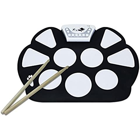 V.TOP 9-Pad Flexiable Silicon Roll Up Electronic Drum Kit with Drum Sticks and Sustain Pedal for Children - MT010