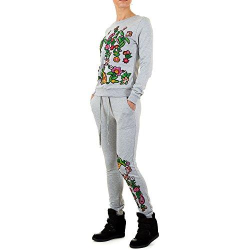 Bestickter Zweiteiler Anzug Für Damen bei Ital-Design Grau