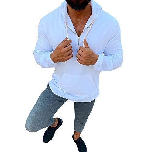 DNOQNMänner T Shirt Slim Fit T Shirts Sportbekleidung Herren Einfarbig Leinen mit Kapuze Langärmelig Kleidung Tops Bluse XXXL