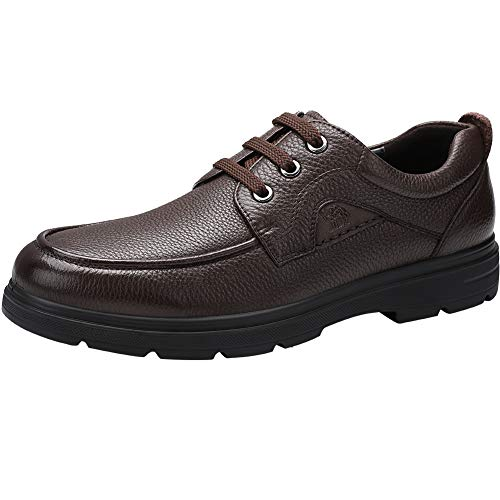 CAMEL CROWN Anzugschuhe Herren, Oxford Leder Schuhe Business Schuhe Männer Klassischer Bootsschuhe mit Gummisohle, Schwarz/Braun (40 EU, Braun2)