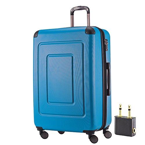 Happy Trolley - Lugano Hartschalen-Koffer Koffer Trolley Rollkoffer Reisekoffer Lugano, sehr leicht + stabil, TSA, 76 cm, 113 Liter, Cyan Blau +Audio Adapter