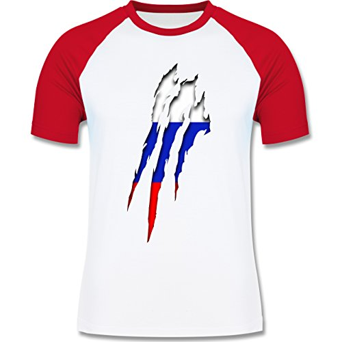 Länder - Russland Krallenspuren - zweifarbiges Baseballshirt für Männer Weiß/Rot