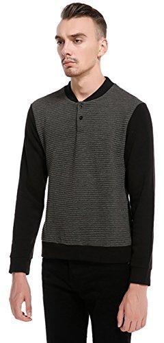 Whatlees Unisex Hip Hop Urban Basic gesteppte Sweatshirt mit Henley Kragen B703-DarkGray